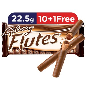 Galaxy Flutes Chocolate Twin Finger 22.5g 10 + 1 Free