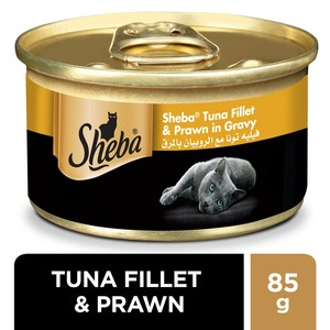 Sheba Tuna Fillet and Prawn in Gravy Cat Food 85g