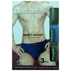 John Gladstone Men's Brief Inner Elastic 3 Pc Pack Assorted Colors JMBC1232-Medium