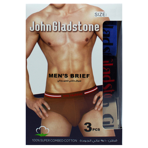 John Gladstone Men's Brief Outer Elastic 3 Pc Pack Assorted Colors JMBC0252-Small