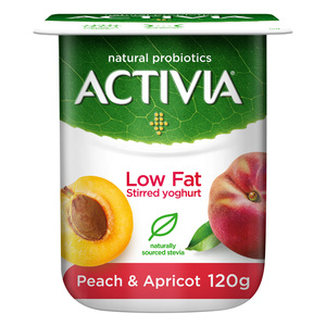 Activia Stirred Yoghurt Low Fat Peach & Apricot 120g
