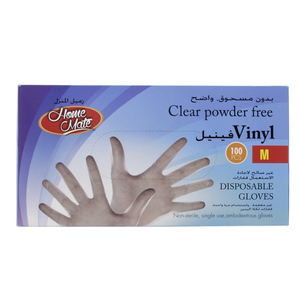 Home Mate Clear Powder Free Vinyl Gloves Medium 100pcs