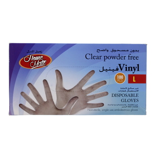 Home Mate Clear Powder Free Vinyl Disposable Gloves Large 100pcs
