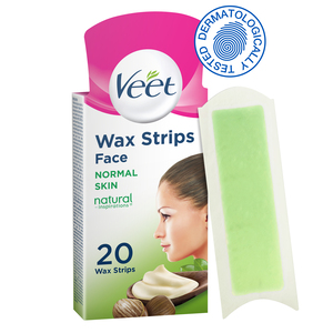 Veet Hair Removal Natural Cold Wax Strips Argan Oil Face 20pcs