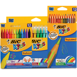 Bic Color Pencil 12Pcs+Crayons 12Pcs+Sketch Pen18Pcs