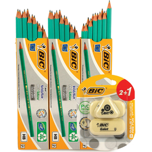 Bic 12Pcs HB Pencil 2Packet + Sharpener 2Pcs