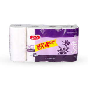 Lulu Kitchen Roll Classic White 2ply 4 x 70 Sheets