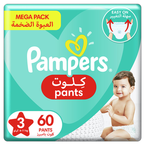 Pampers Baby-Dry Pants diapers With Stretchy Sides for Better Fit Size 3 6-11kg 60pcs