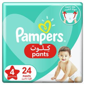 Pampers Baby-Dry Pants diapers With Stretchy Sides for Better Fit Size 4 9-14kg 24pcs