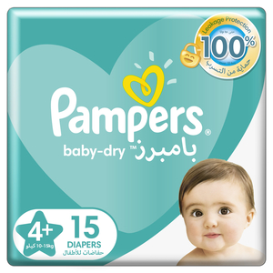 Pampers Baby-Dry Diapers Up to 100% Leakage Protection Over 12 Hours Size 4 10-15kg 15pcs