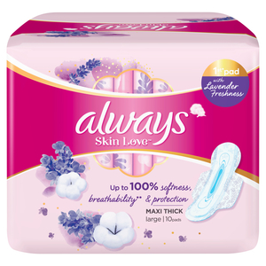 Always Skin Love Pads Lavender Freshness Thick & Large 10pcs