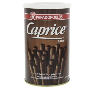 Papadopoulos Caprice Dark Chocolate Wafer Rolls 250g