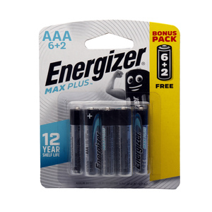 Energizer Max Plus AAA Alkaline Battery 6+2