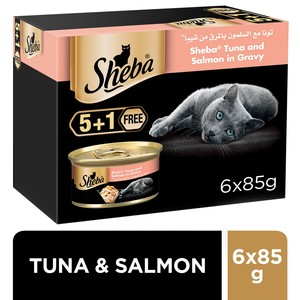 Sheba Flaked Tuna Topped with Salmon Cat Food 6 x 85g