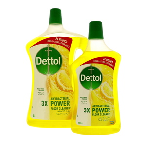 Dettol Power Antibacterial Floor Cleaner Lemon 3Litre + 900ml