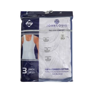 John Louis Men's Vest 3Pcs Pack White Medium