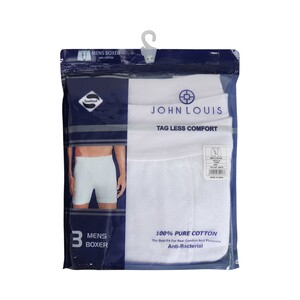 John Louis Men's Under Shorts 3 Pcs Pack White Medium