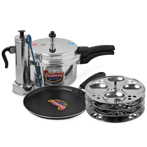 Chefline Pressure Cooker 5Ltr + Put Maker + Idly Stand 4 Plates + Tawa 24cm