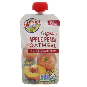 Earths Best Organic Apple Peach Fruit and Grain Puree 120g