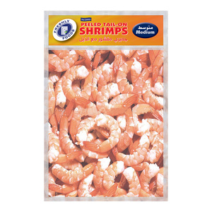 Freshly Frozen Peeled Tail-On Shrimps Medium 2 x 400g
