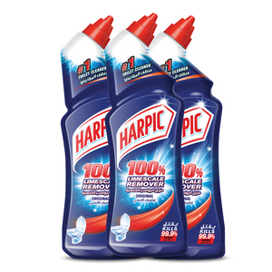 Harpic Toilet Cleaner Liquid Limescale Remover Original 750ml 2+1