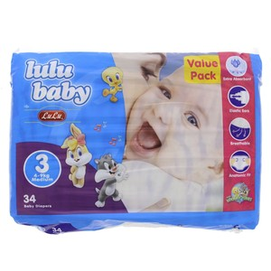 Lulu Baby Diapers Size 3, Medium, 4-9kg,Value Pack 34 Counts
