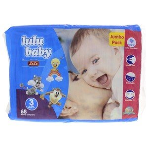 Lulu Baby Diaper Size 3  4-9kg Medium 68pcs