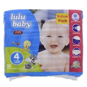 Lulu Baby Diapers Size 4, Large, 7-14kg,Value Pack 32 Counts
