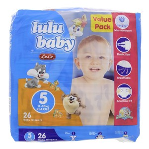 Lulu Baby Diapers Size 5, Extra Large, 11-18kg,Value Pack 26 Counts