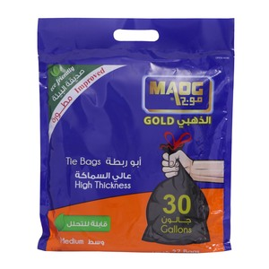 Maog Tie Bags Gold 30 Gallons Medium 27pcs