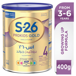 Wyeth S26 Prokids Gold Premium Milk Powder for Kids Tin Stage 4 3-6 Years 400g