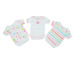 Reo Newborn Girls Short Slv Printed 3Pc Bodysuit B7NBG23 0-18M
