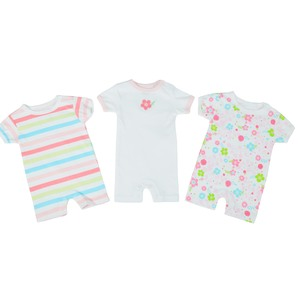 Reo Newborn Girls Short Slv Printed Rompers 3Pc Set B7NBG24 0-18M