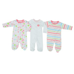 Reo Newborn Girls 3/4 Slv Printed Sleepsuit 3Pc Set B7NBG25 0-18M