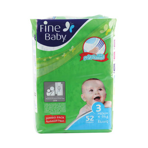 Fine Baby Diaper Medium 3, 4-9kg 52Count