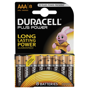 Duracell Plus Power Type AAA Alkaline Batteries 8pcs