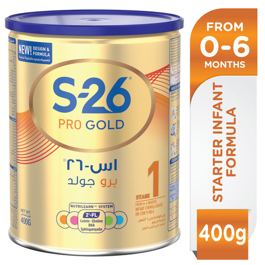 Wyeth Nutrition S26 Pro Gold Stage 1 0-6 Months Premium Starter Infant Formula 400g