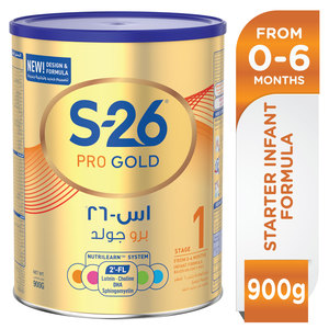 S26 Pro Gold Stage 1, 0-6 Months Premium Starter Infant Formula for Babies 900g