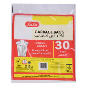 Lulu White Garbage Bags 5 Gallon 46cm x 52cm 30pcs
