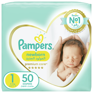 Pampers Premium Care Diapers Our Softest Diaper and The Best Skin Protection Size 1 Newborn 2-5kg 50pcs