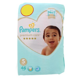 Pampers Premium Care Diapers, Size 5, 11-16kg 46pcs