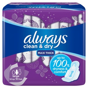 Always Mesh Maxi Thick Large Sanitary Pads 10 Count