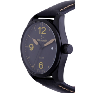 Tornado Men's Analog Watch Black Dial Leather Band T5026-BLBBY