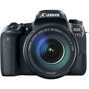 Canon DSLR Camera EOS-77D + 18-135mm IS  Black