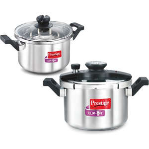 Prestige Clip On Combi Stainless Steel Pressure Cooker 6Ltr+3Ltr With Glass Lid