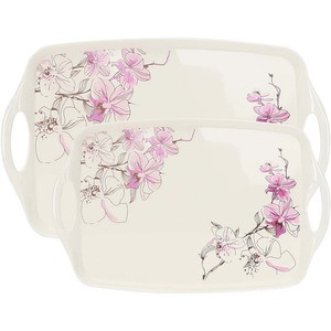 Melamine Serving Trays Siam Orchid 2pcs