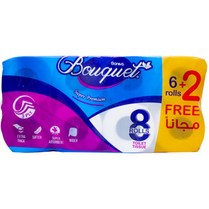 Sanita Bouquet Toilet Tissue Embossed 3ply 8pcs