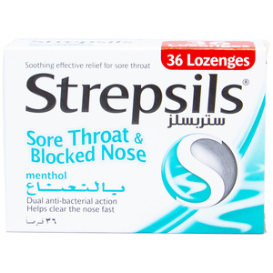 Strepsils Sore Throat And Blocked Nose Lozengers 36pcs
