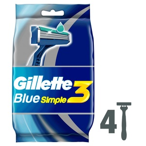 Gillette Blue Simple3 Men's Disposable Razors 4pcs