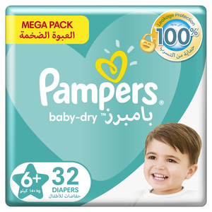 Pampers Baby-Dry Diapers Up to 100% Leakage Protection Over 12 Hours Size 6 14+kg 32pcs